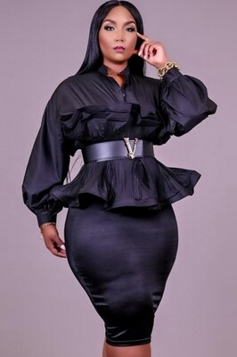 Style Drops| Plus Size Peplum Puff Sleeve Blouse and Pencil Skirt