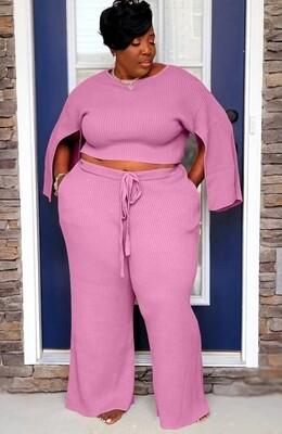 Style Drops| Plus Size Slit Long Sleeves Pant set