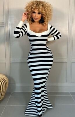 Style Drops| Sexy Stripes Mermaid Maxi Dress