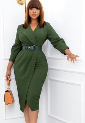 Style Drops|  V-Neck Wrap Midi Work Dress