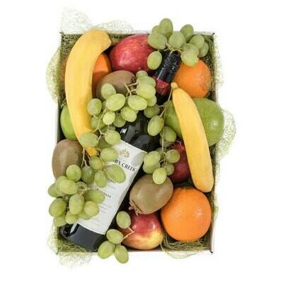 Seasonal fruit and wine hamper