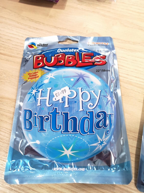 Blue Happy Birthday Bubble