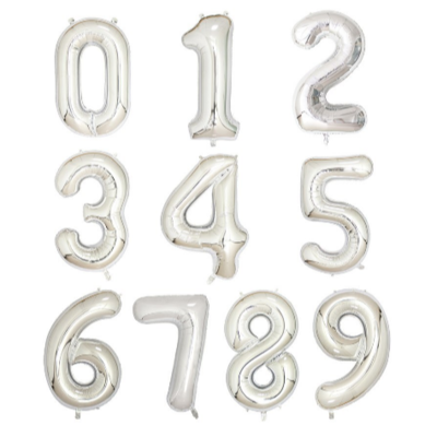 Silver 34 Inch Foil Number Balloon