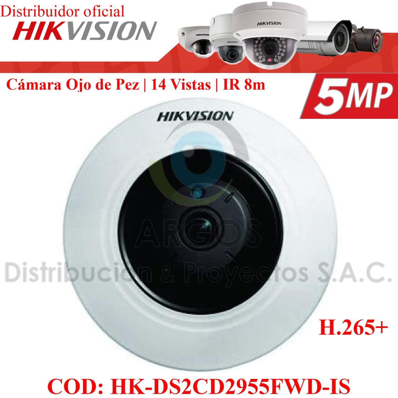 OJO DE PEZ IP 5Mp | WDR 120 dB  | 14 tipo de vistas | IR 8m | PoE | Slot SD | Audio/Alarma