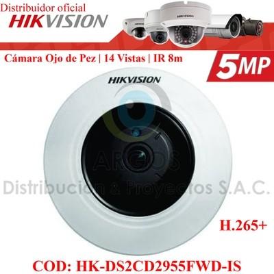 OJO DE PEZ IP 5Mp   WDR 120 dB    14 tipo de vistas   IR 8m   PoE   Slot SD   Audio/Alarma