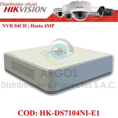 NVR 4Ch | HASTA 4Mp | Salida HDMI/VGA | Soporta 1HDD | TCP/IP 10/100Tx