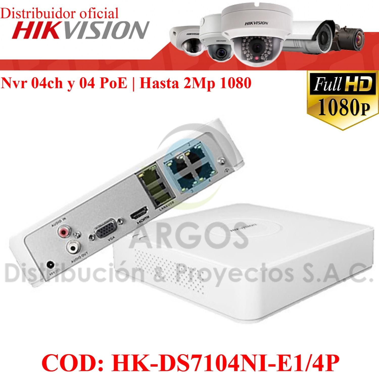 NVR 4Ch (4PoE) | HASTA 4Mp | Salida HDMI/VGA | Soporta 1HDD | TCP/IP 10/100Tx