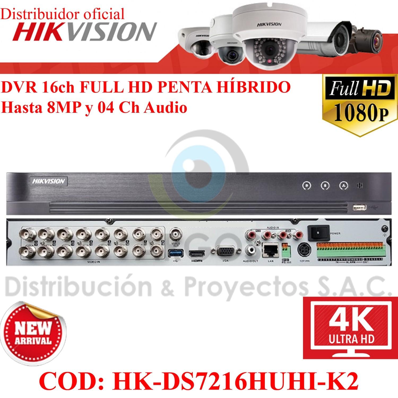 DVR 16CH FULL HD HASTA 8MP 2HDD 4 AUDIOS PENTA HÍBRIDO HIKVISION | ALARMAS