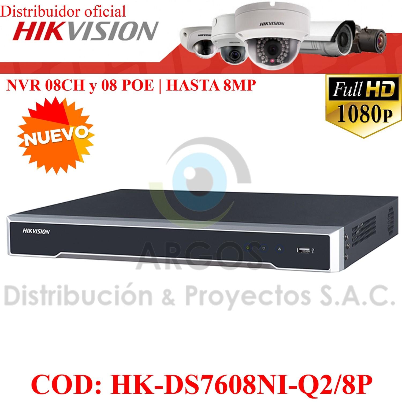 NVR 8Ch y 08 POE | HASTA 8Mp | Salida HDMI/VGA | Soporta 2HDD | Soporta 8Ch IP
