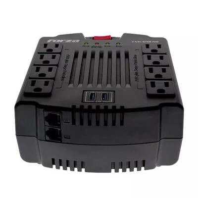 ESTABILIZADOR FORZA 8 TOMAS ( FVR-1202USB ) 1200VA | 2 USB