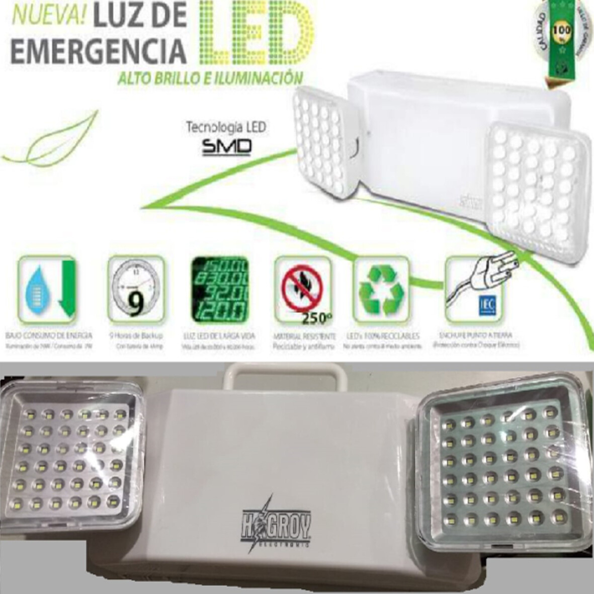 LUZ DE EMERGENCIA 72 LED 12H DURACION - HAGROY