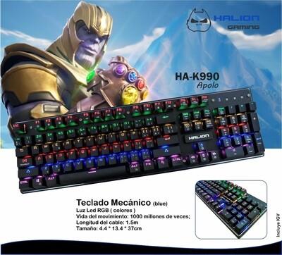 TECLADO GAMER MECANICO HALION APOLO HA-K990 RGB