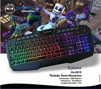 TECLADO GAMER SEMI MECANICO HALION KATANA HA-K810 LED