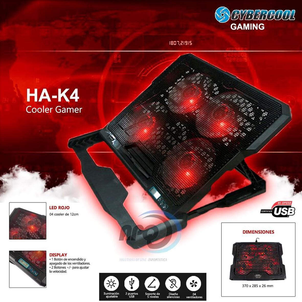 COOLER PARA LAPTOP 4 VENTILADORES HALION HA-K4