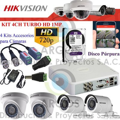KIT DE 4 CÁMARAS COMPLETO CON HDD 1TB - HD 720P