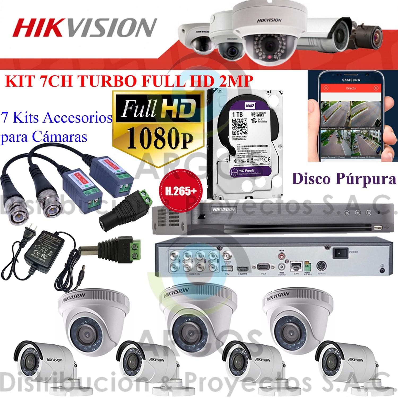 KIT DE 7 CÁMARAS COMPLETO CON HDD 1TB - FULL HD 1080P