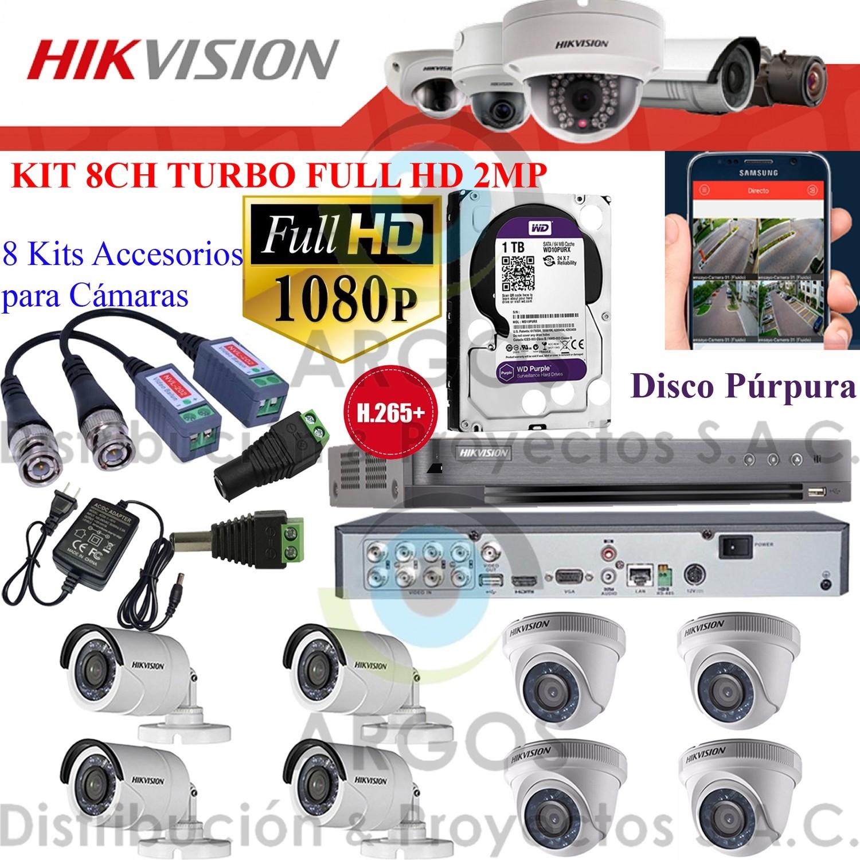 KIT DE 8 CÁMARAS COMPLETO CON HDD 1TB - FULL HD 1080P