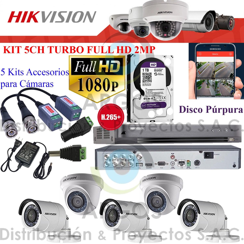 KIT DE 5 CÁMARAS COMPLETO CON HDD 1TB - FULL HD 1080P