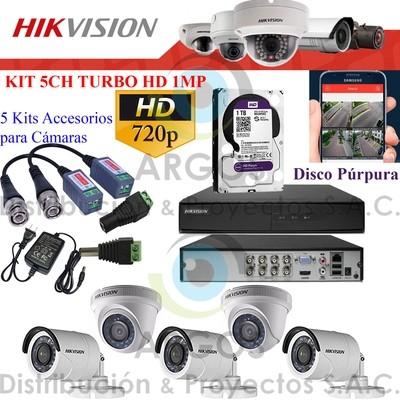 KIT DE 5 CÁMARAS COMPLETO CON HDD 1TB - HD 720P