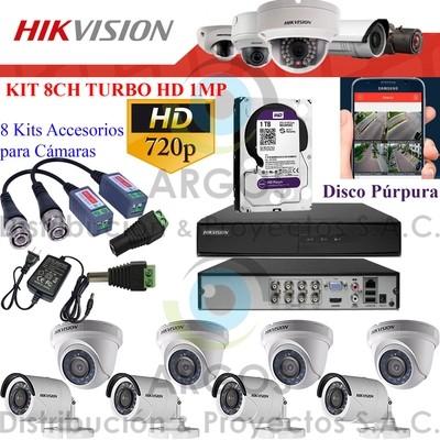 KIT DE 8 CÁMARAS COMPLETO CON HDD 1TB - HD 720P