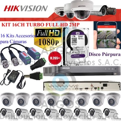 KIT DE 16 CÁMARAS COMPLETO CON HDD 2TB - FULL HD 1080P