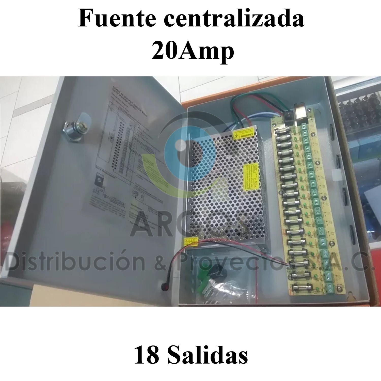 FUENTE CENTRALIZADA CCTV 18 TOMAS 20AMP
