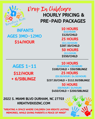 Drop In Childcare- 25 Hour Package- SIBLING ADD ON
