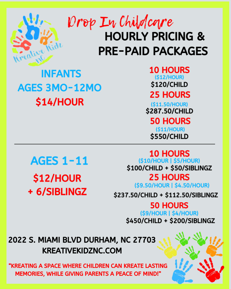 Drop In Childcare- 50 Hour Package SIBLING ADD ON