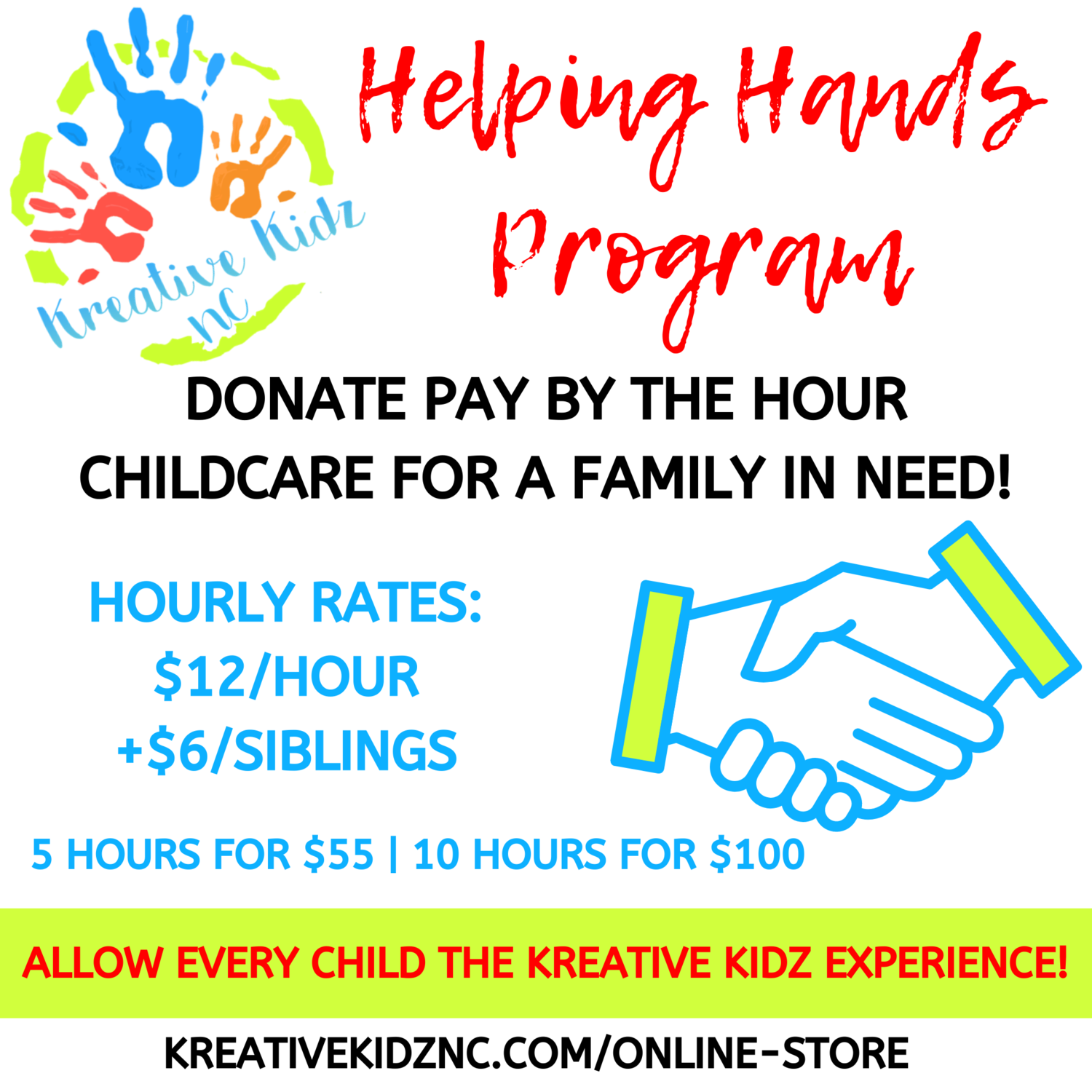 Helping Hands Program- 5 Hours (SIBLING ADD ON)