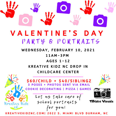SIBLING RATE- Valentine's Day Party & Portraits (PORTRAITS ONLY)