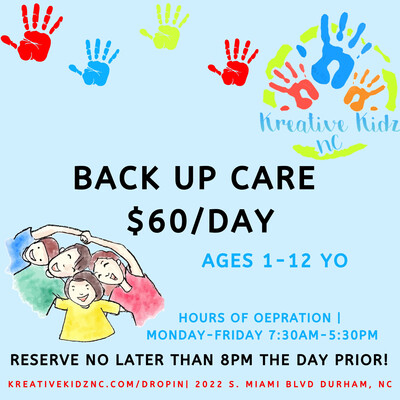 BACK UP CHILDCARE (AGES 1-12)