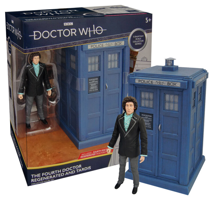 """Doctor Who: 4th Doctor Regenerated 5.5"""" Figure & TARDIS Collector set"""