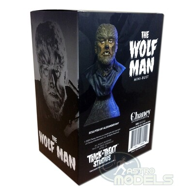 """Chaney Mini Bust 'Wolfman' - 15cm Tall - (Approx. 6"""" Including Stand)"""
