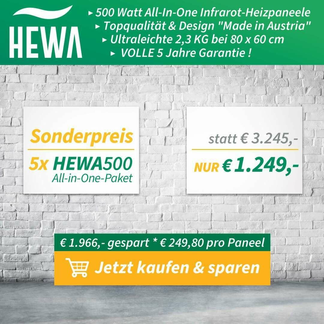 5 x Infrarot- Heizung HEWA 500