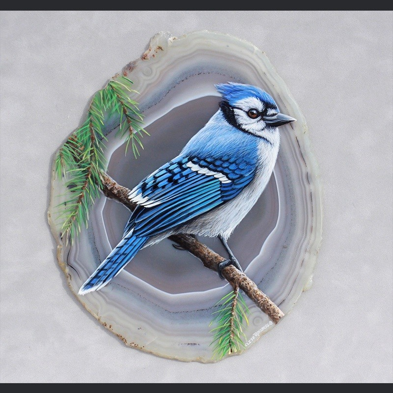 Blue Jay- Acrylic on Agate