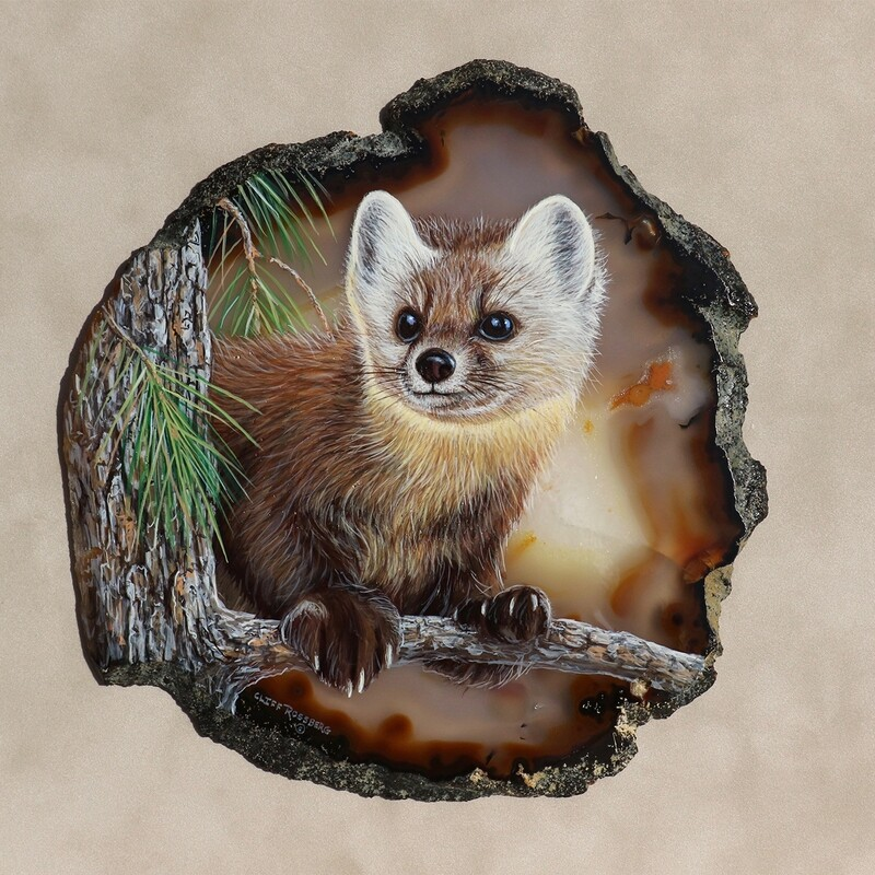 Pine Marten- acrylic on agate