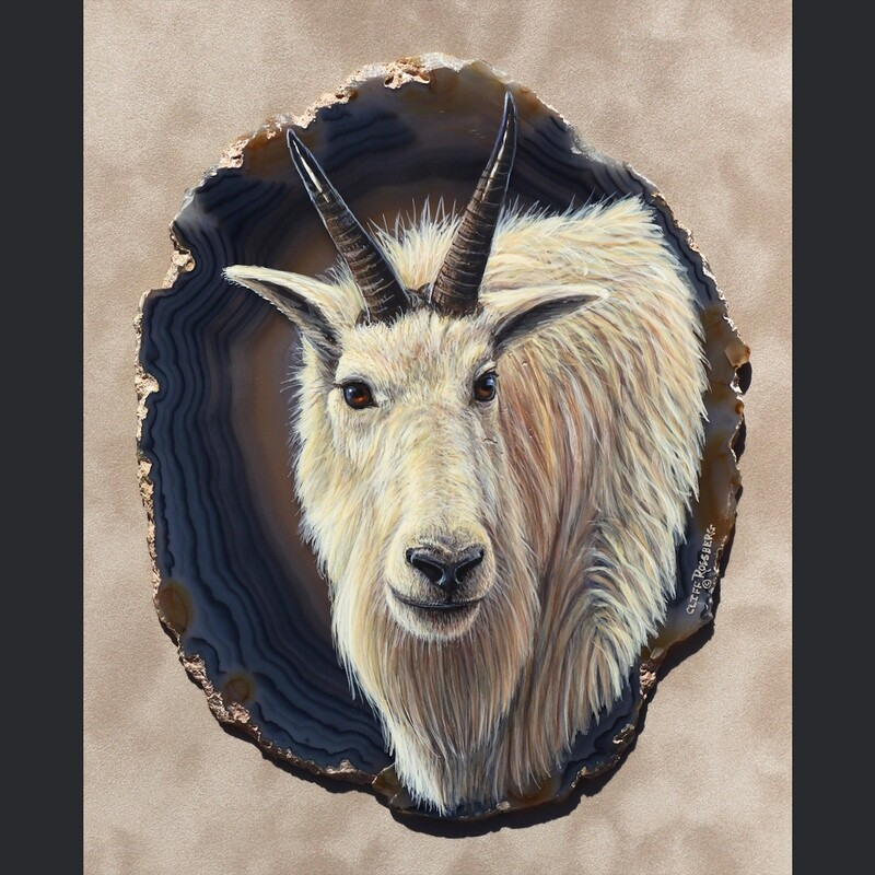 Billy- Mountain Goat-  acrylic on agate