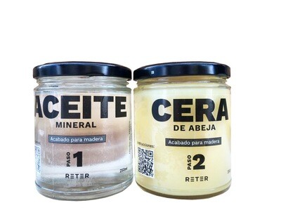 Kit: Aceite mineral + Cera. Para madera. Tratamiento humectante.