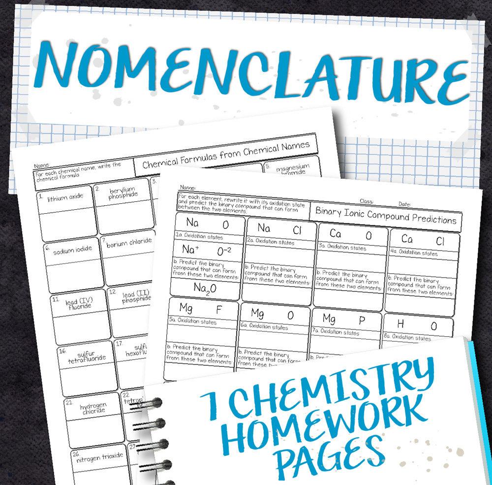 Chemistry Unit 6 Nomenclature Homework Pages