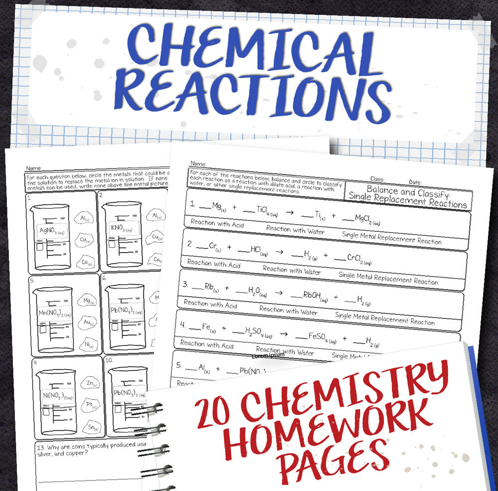 Chemistry Unit 8 Chemical Reactions Homework Pages