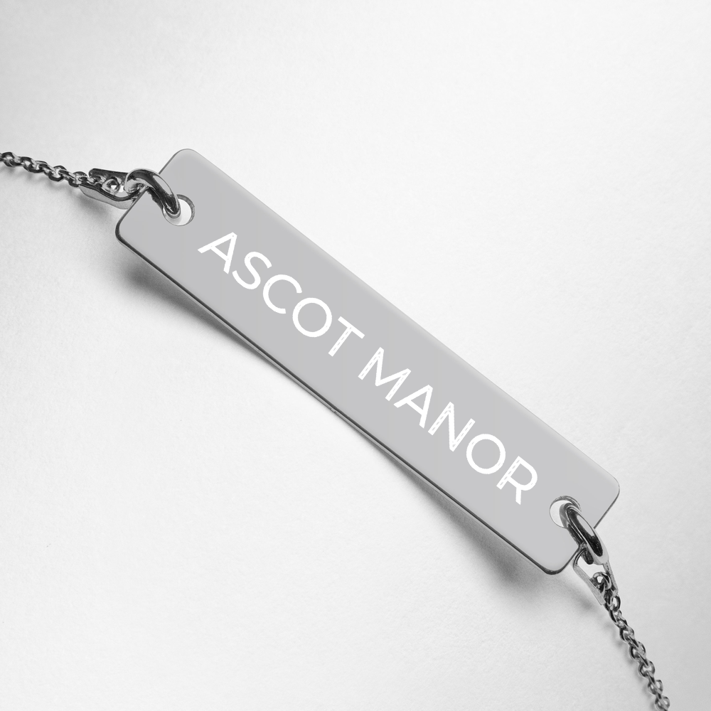 Ascot Manor Engraved Silver Bar Tennis Necklace