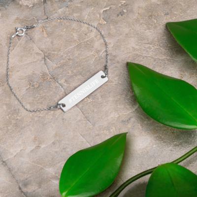 Ascot Manor Engraved Tennis Life Bar Chain Bracelet