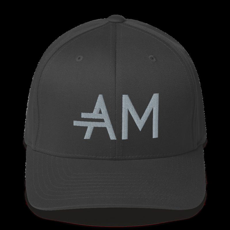 Men's A.M Grey Structured Twill Cap
