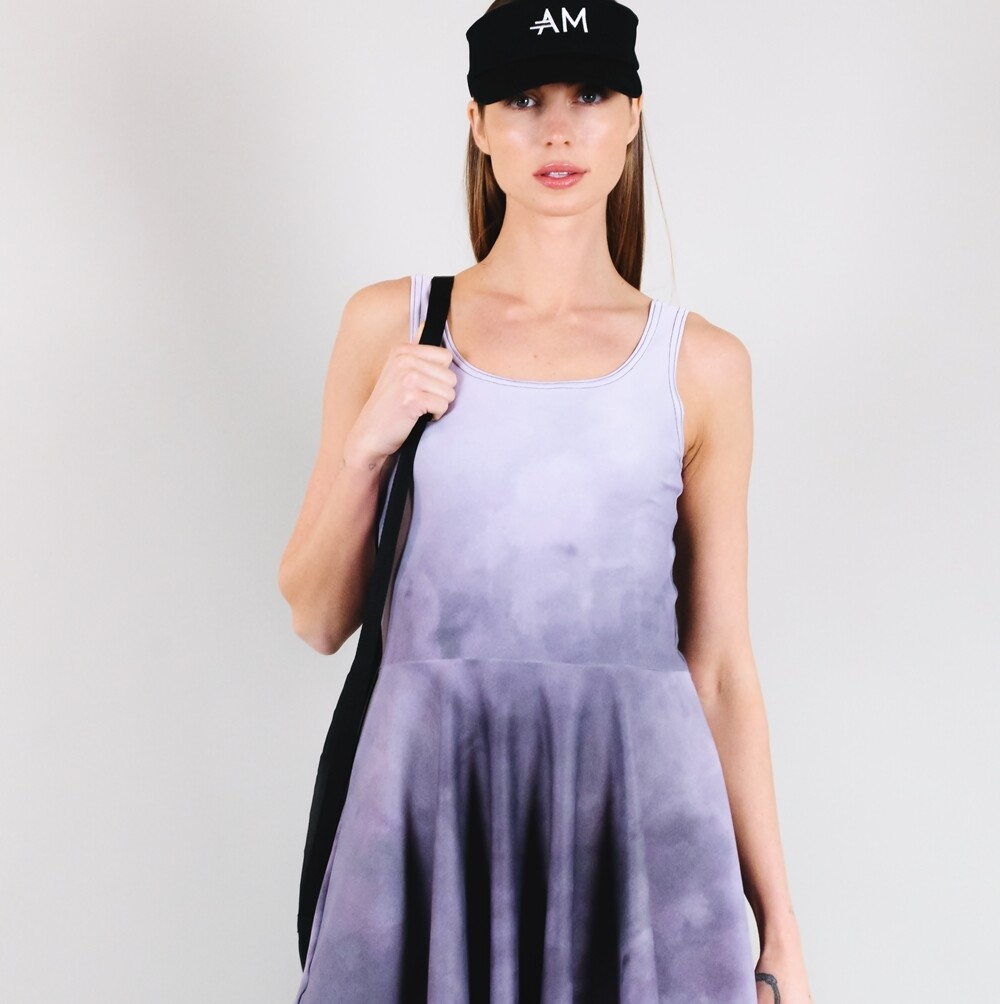 Women's A.M Grey Scoop Neck Tennis Dress