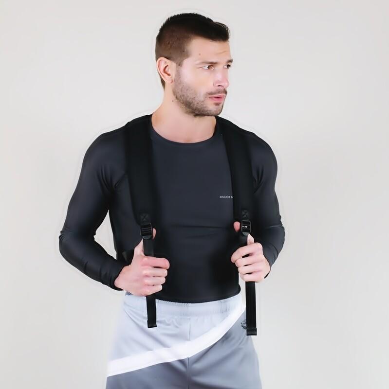 Men's A.M Grey Charcoal Tennis Rash Guard