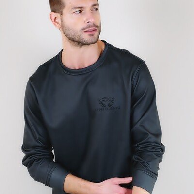 Men's A.M Grey Classic French Terry Pullover