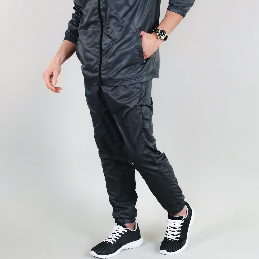 Men's A.M Grey Water Resistant Track Pants Charcoal