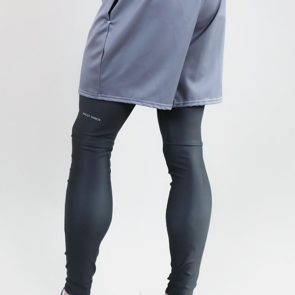 Men's A.M Grey Charcoal Performance Leggings