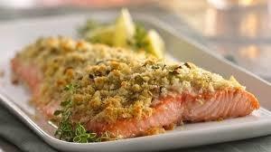 Lemon herb crusted salmon dinner