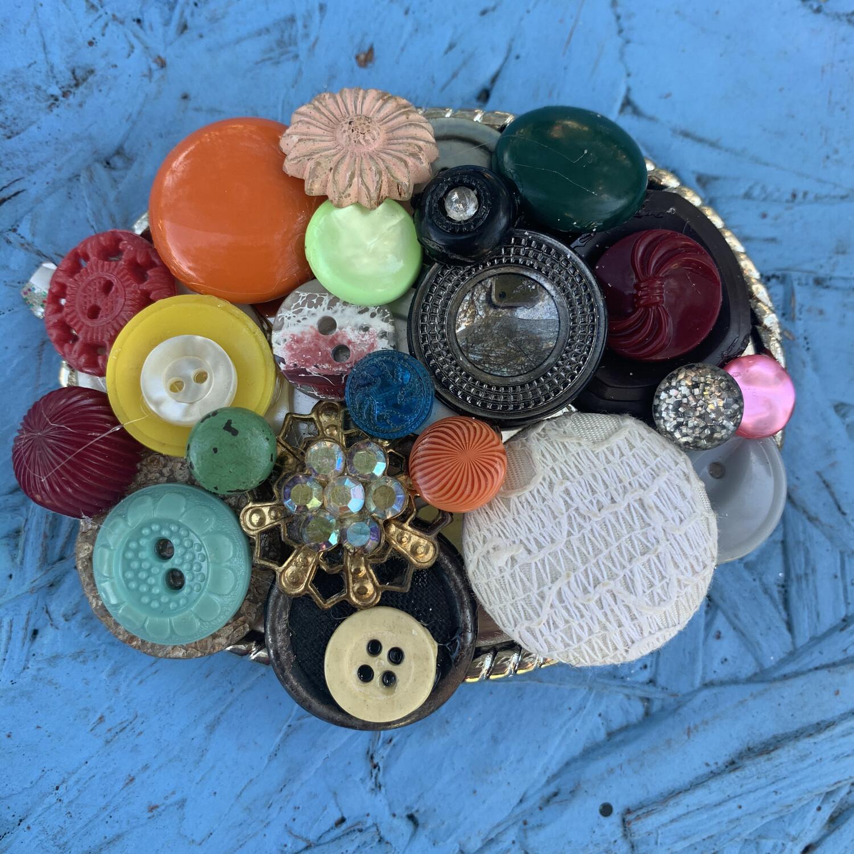 Vintage Button Boho Belt Buckle